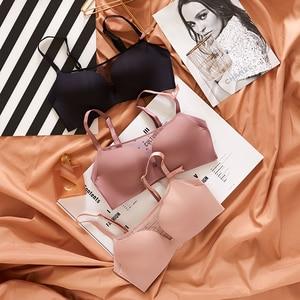Image 2 - Women Bra Sets Lingerie Girls seamless Bras Underwear Push Up young  ladies summer half translucent Brassiere + Panties