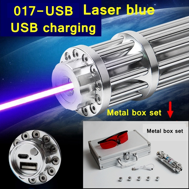 [ReadStar]2017 Style 017-USB 5W high burn match Blue Laser pen laser pointer USB charging Metal box set include pattern caps