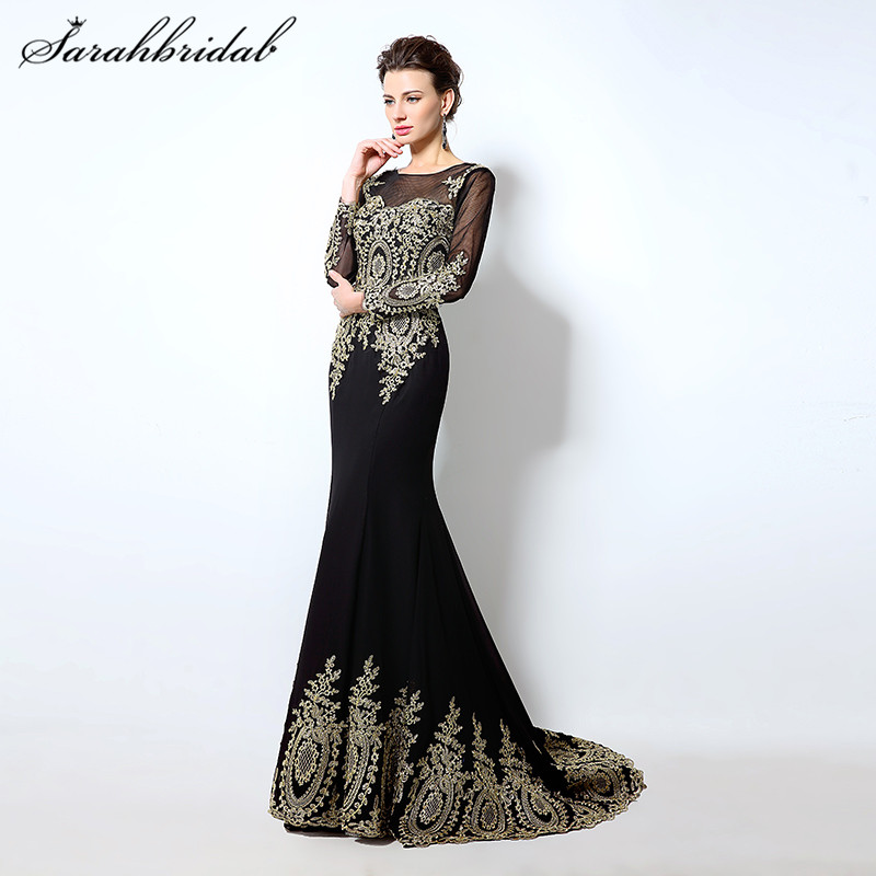 Sexy Black Long Mermaid Aften Kjoler Hele O Neck Lange Ermer Tilbage Lace Prom Party Kjole Printed Court Train Real Photo XU040