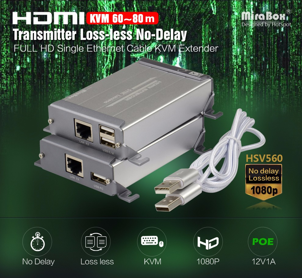 HSV560 KVM HDMI Extender One Pair Over Cat Cable Support USB Keyboard And Mouse Transmit Up to 60-80m KVM Extender 1080P full HD (3)