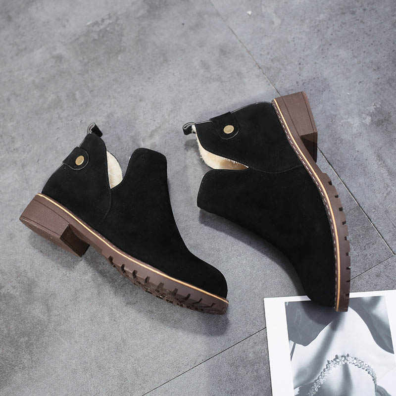 8cc4f34813fce Masorini Women 201k9 Newest Flock Buckle Strap Ankle Boots Women Low Heels  Chelsea Boots Ladies Winter Boots For Girls W-059