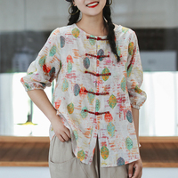 Womens Linen Ramie Shirt Blouse Chinese Style Fashion Casual for Summer Big Loose Print AZ61191417