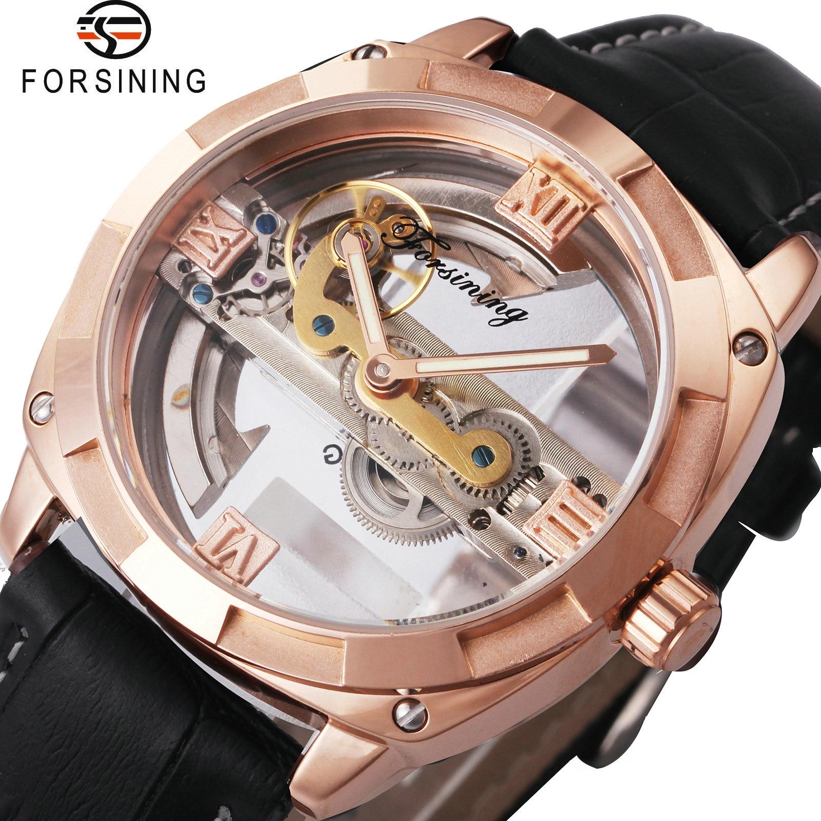 FORSINING Rose Golden Mechanical Watches Men Golden Bridge Design Transparent Luminous Hands Dial Top Brand Wrist Watches 2018 маска tony moly natural aroma oil mask tea tree