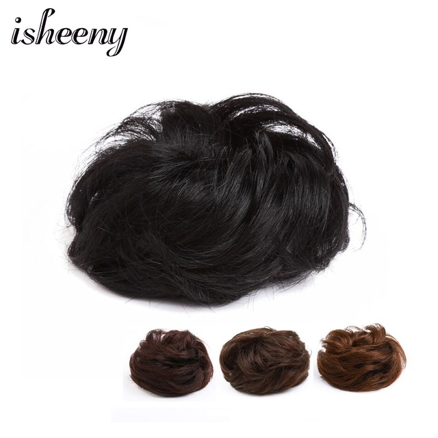 Isheeny 30g europeo humano Remy dcount Chignon negro marrón goma banda Natural Chignon