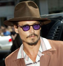 2019 Fashion Johnny Depp Style Round Sunglasses Clear Tinted Lens Brand Design Party Show Sun Glasses Oculos De Sol