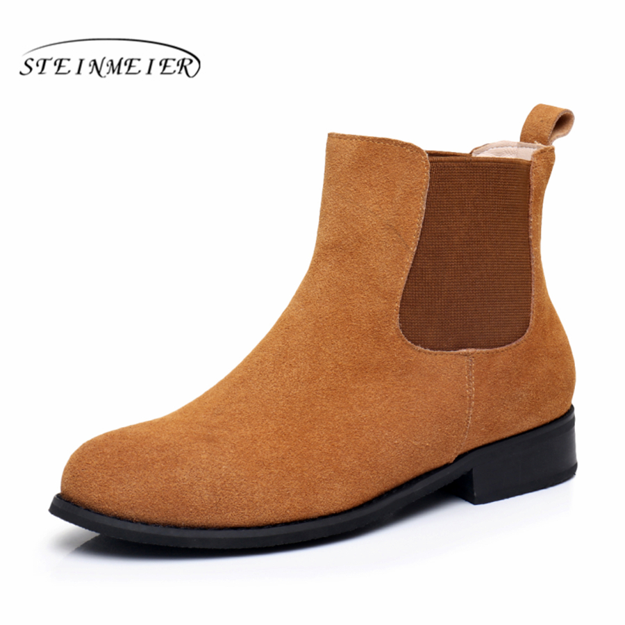 Genuine Leather Ankle Boots Comfortable quality soft Shoes Brand Designer Handmade blue brown black US 9.5 with fur 2018 spring