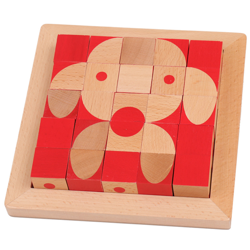 Children Brain Square Desktop Game Square 3D Solid Wooden Children Early Education Toys(China)