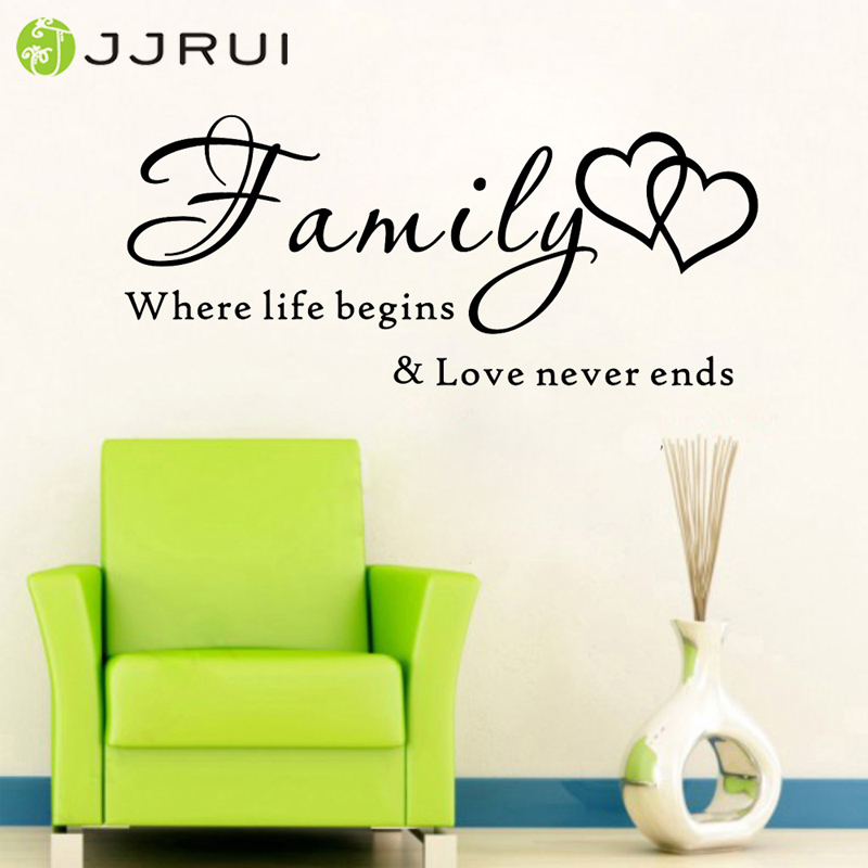 JJRUI Vægkunst Citat Vægklister Familie, hvor livet begynder Vinyl Home Decal DIY Home Decoration for Bedrooms