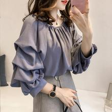 Yfashion New Lady Fashion Blouse Women Summer Off Shoulder Loose Bubble Sleeve Solid Color Shirt Blouses Blouse Female off the shoulder color block blouse