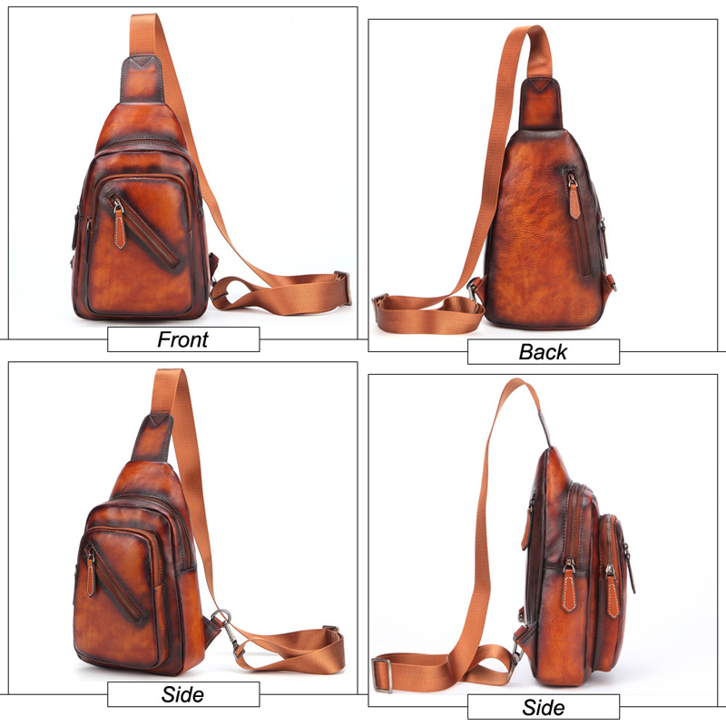 Men 's Cowhide F Chest Bags Genuine Leather Single Shoulder Pack High Quality Cross Body Bag For Man - 2