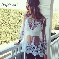 Self Duna 2017 Summer Women Mesh Transparent Blouse Crochet Long Sleeve Black Loose Beack Sexy Female