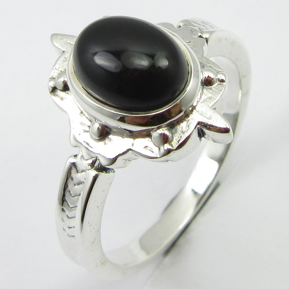 Authentic Black Onyx HAMMERED Ring Size 8.75 Solid Silver Stone Jewelry Unique Designed