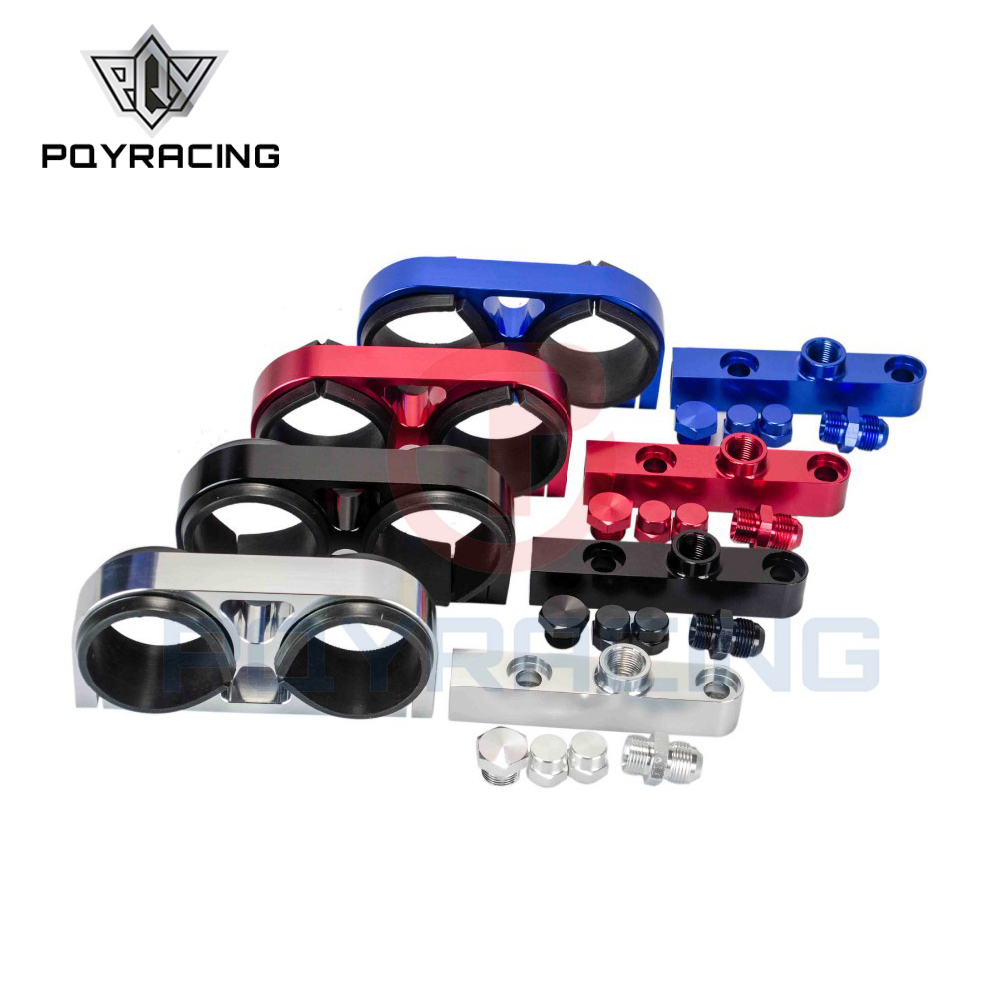 PQY - Twin Fuel Pump Bracket Billet Aluminium Assembly OUTLET Manifold In Black for 044 fuel pump W/O Logo PQY-LD2642