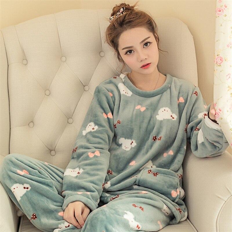 Women Winter Sweet Thickening Flannel   Pajamas     set   Lady Cartoon Pyjamas sleepwear Suit Female Home Clothing Women's   Pajamas     Sets