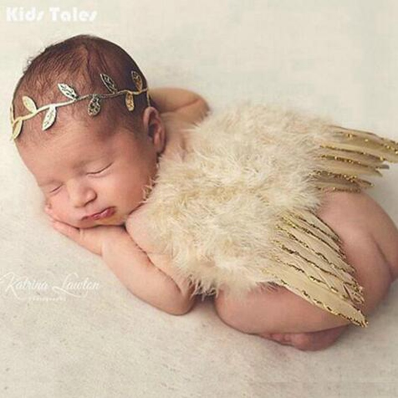 Fashion Newborns Costume Baby Golden Angel Wings And Flower Headband Photo Photography Prop Outfits Newborn Unisex Clothes