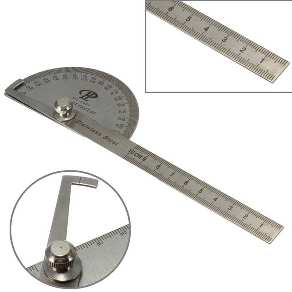Stainless Protractor Round Head Angle Finder Craftsman Rule Ruler Machinist Tool Professional 0-180 Degrees Protractor 10cm