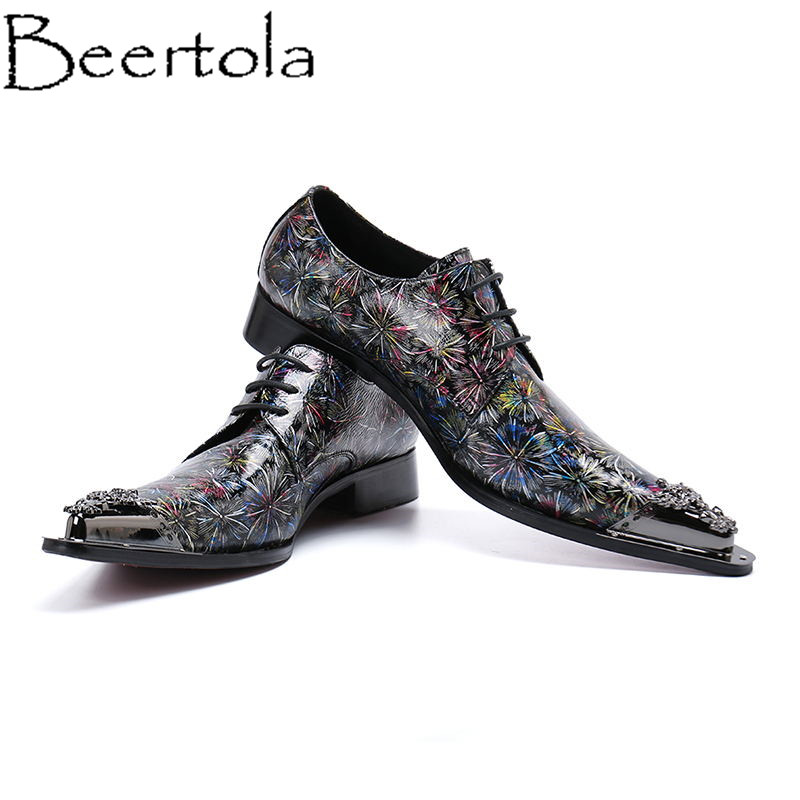 Men's Casual Shoes 100% True Beertola Real Leather Men Casual Shoes Bloom Fireworks New Year Gifts Men Flats Pointed Toe Lace Up Zapatos Mujer Top Quality