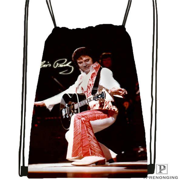 Custom Elvis-presley Drawstring Backpack Bag Cute Daypack Kids Satchel (Black Back) 31x40cm#2018611-1(8)