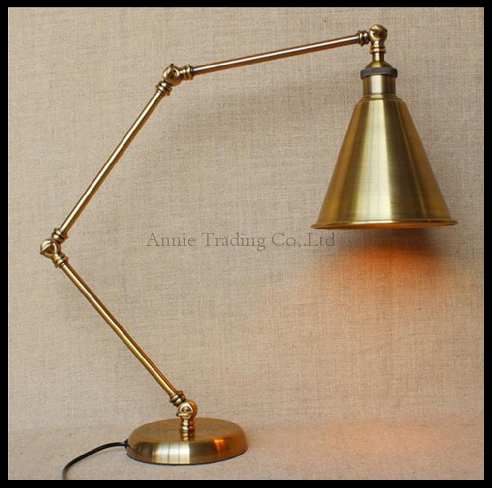 Table lamp socket - American Contry Style Nordic Retro Bronze Desk Lamps Home Room Decorative Swing Arm Table Lamp E27
