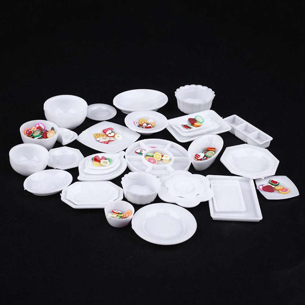 33Pcs Puppenhaus Miniatur Geschirr Plasti-c Platte Gerichte Gesetzt Mini Lebensmittel die waren Geschirr Modell Set