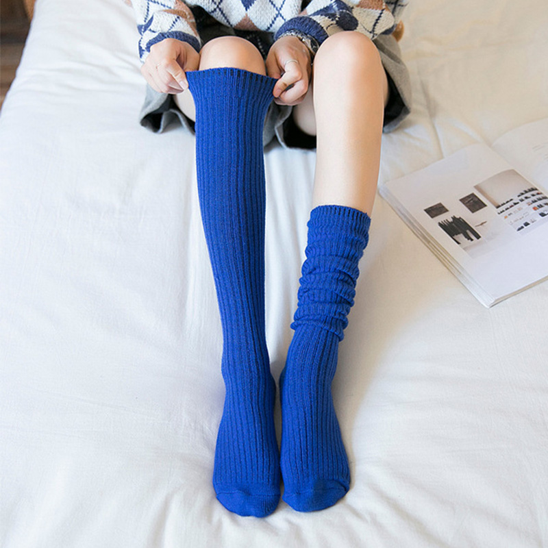 Autumn Winter Stockings Women Warm Cashmere Elasticity Knee High Stockings Black Blue Purple Gray Wine Red ColorStockings   -