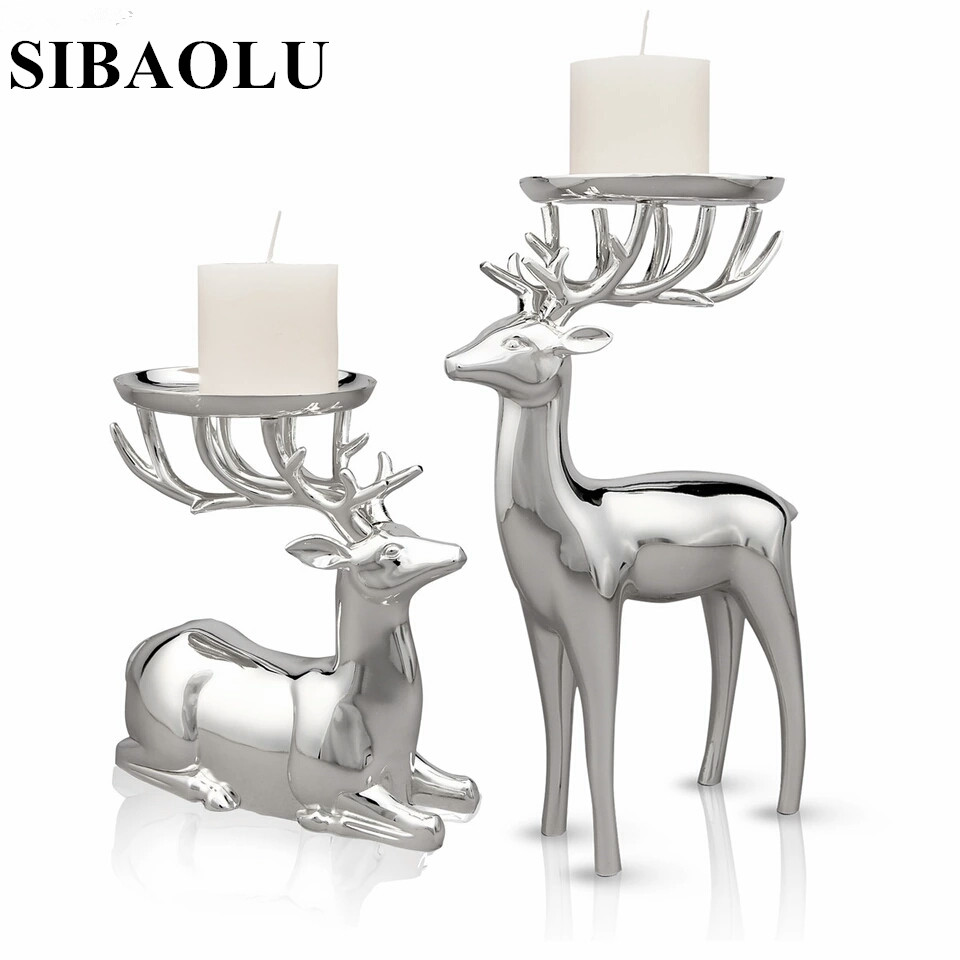 Buck Deer black metal votive candle holder