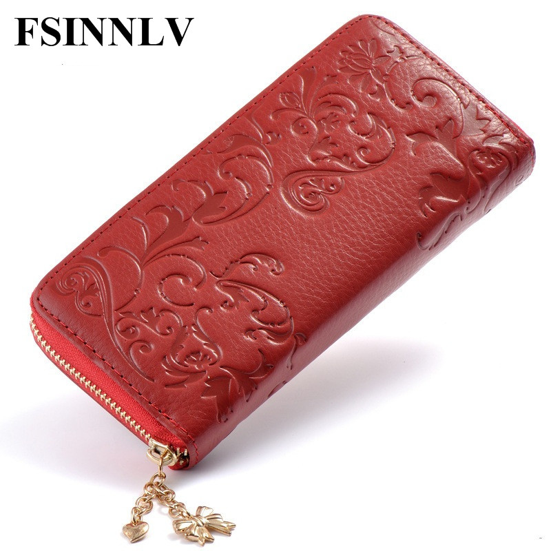 FSINNLV 2018 Genuine Leather Wallet for Women Lady Long Wallets Women Purse Wallet female Card Holder zipper women clutch DC94 rfid booking women wallets double zipper genuine leather wallet women purse small short clutch lady handy bag card holder wallet