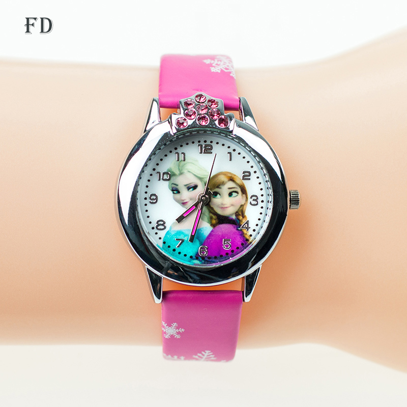 2017 New Cartoon Children' Watch Cute Princess Elsa Crystal Wristwatch Fashion Girls Kids leather Quarts Watches Sports Clock 2016 new relojes cartoon children watch princess elsa anna watches fashion kids cute relogio leather quartz wristwatch girl gift