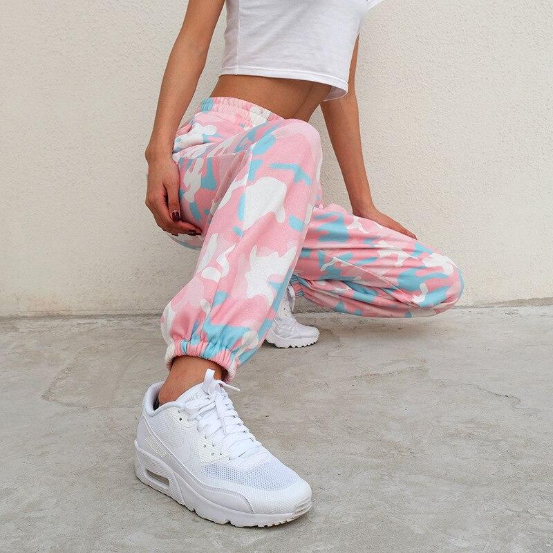 HOUZHOU Pink Camouflage Pants Womens Camo Cargo High Waist Trousers Harajuku Joggers Elastic Waist Streetwear Pantalon Female