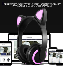 cat ear LED headphones wireless earphones Bluetooth luminous Seven colors to change at will