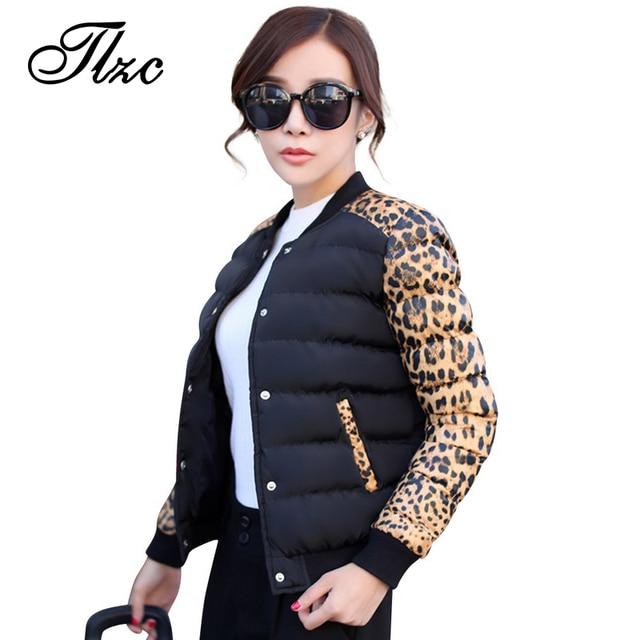 TLZC Leopard Women Fashion Parkas Cotton Padded Plus Size M-4XL Winter Thicken Lady Casual Outerwear & Jacket Patchwork Design