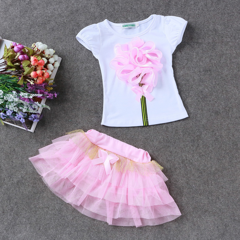 2017 Fashion Baby Toddler Girls Clothes T-shirt+Tutu Skirt 2PCS Set Cute Summer Children Clothes Sets Girls Outfits