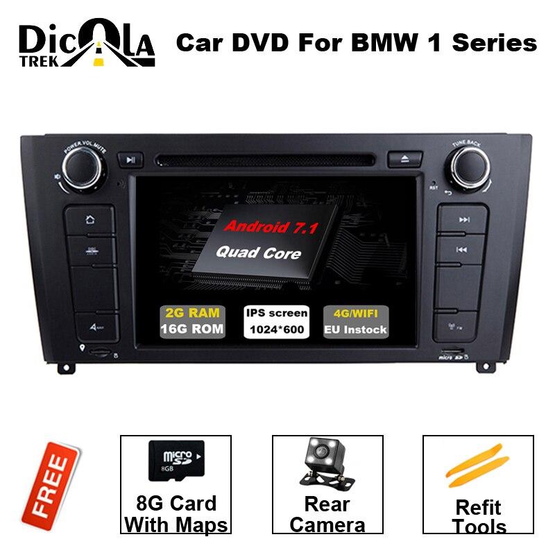 Android 7,11 dvd плеер автомобиля для BMW 1 серии E81 E82 E83 E87 E88 2004 2012 аудио стерео мультимедиа gps Quad Core 2 + 16 г