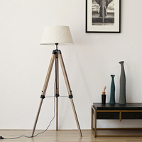 Vintage Loft Indsutrial Wooden Fabric E27 Tripod Floor Lamp for Living Room Bedroom Study 150cm Illuminare Reading Light 2359