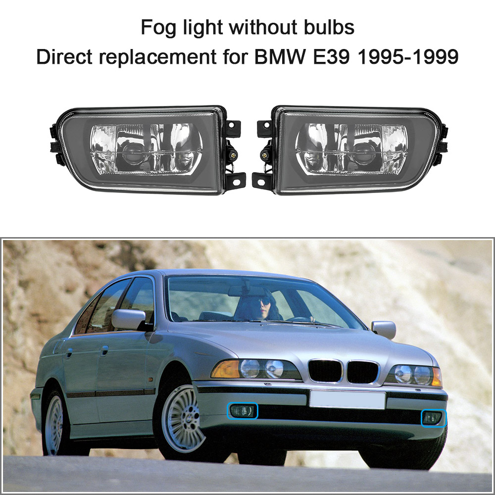 KKmoon for BMW E39 1 Pair Left & Right Front Fog Light H7 Base without Bulbs Replacement Kit 1995 1996 1997 1998 1999 2pcs right left fog light lamp for b mw e39 5 series 528i 540i 535i 1997 2000 e36 z3 2001 63178360575 63178360576