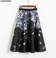 2017 new long paragraph skirt retro printing hollow cotton thickening high waist A word skirts Peng Peng women