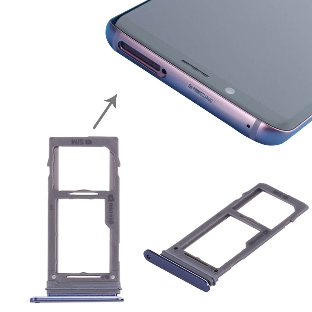 Dual Sim Card / Single Sim Card + Micro SD Holder Slot Tray For Samsung Galaxy S9 / S9 Plus