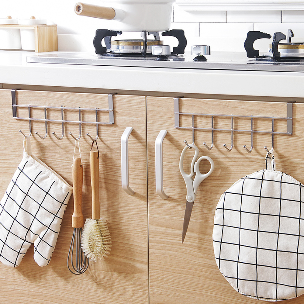 Kitchen hook stainless steel wall hanging free punching door rear 5 with bathroom clothes hooks wx7201526