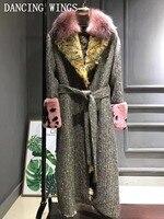Роскошные натуральный мех ягненка лайнер шерсти твидовое пальто Теплая зимняя кофта Для женщин длинные натуральным лисьим меховой воротни