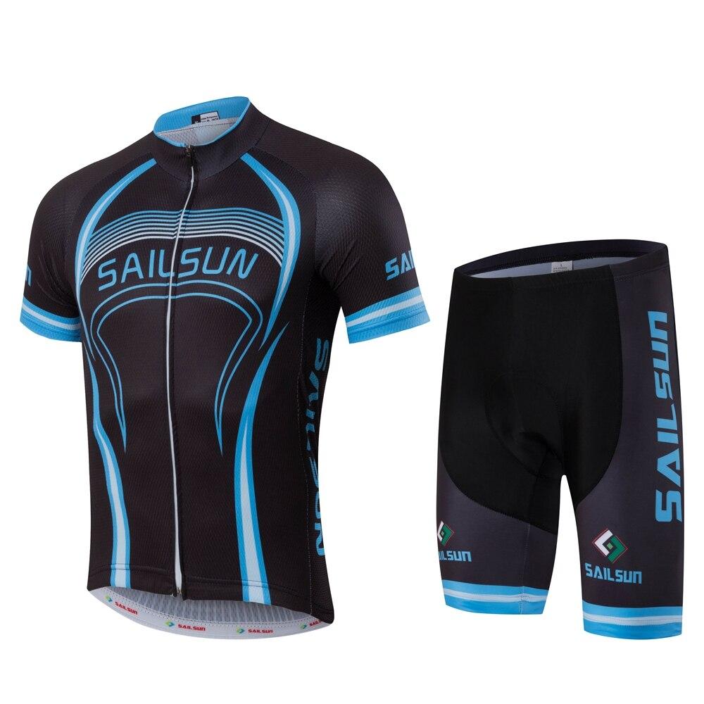 Prix pour Voile Soleil D'été hommes Vélo VTT Manches Courtes Jersey Vélo vélo Définit Shirts Cuissard Rembourré Vélo Court Portent des Uniformes bleu