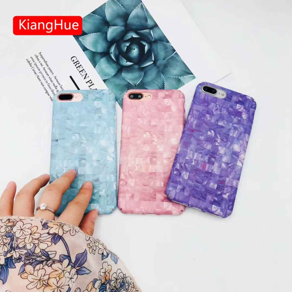 Luxury Lattice Painti PC Hard Case For iPhone 7 8 6 6s Plus Mosaic Painting Cover Hard PC Back Cases For iPhone X Coque