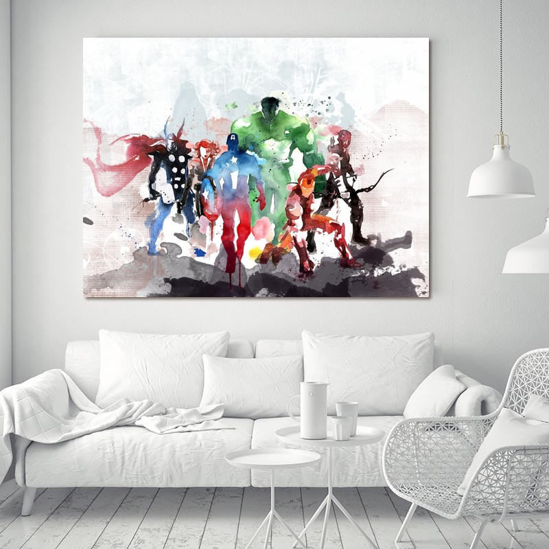 Captain America Iron Man Thor Hawkeye Noir Veuve Le The Avengers Films Art Oil Painting poster Home Decor Photos image