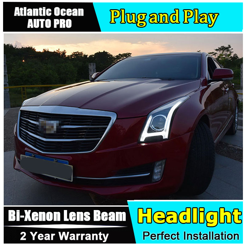 Auto part Style LED Head Lamp for Cadillac ATSL led headlight 2014-2017 for ATSL drl H7 hid Bi-Xenon Lens angel eye low beam hireno headlamp for hodna fit jazz 2014 2015 2016 headlight headlight assembly led drl angel lens double beam hid xenon 2pcs