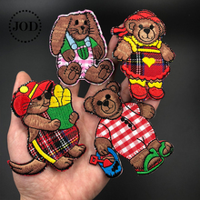 JOD Embroidered Bear Iron on Patches for Clothing Children Jeans DIY Badge Fabric Stickers Applique Embroidery Patch Clothes