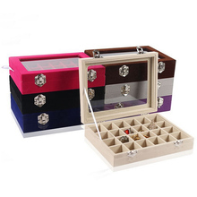 Top fashion Various Color Options 24 Grids Ring Box Jewelry Earrings Necklaces Makeup Case Choker Organizer Jewellery Storage