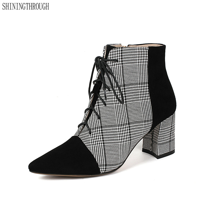 New suede leather lace up women ankle boots poined toe high heels boots woman elegant gingham ladies dress shoes woman