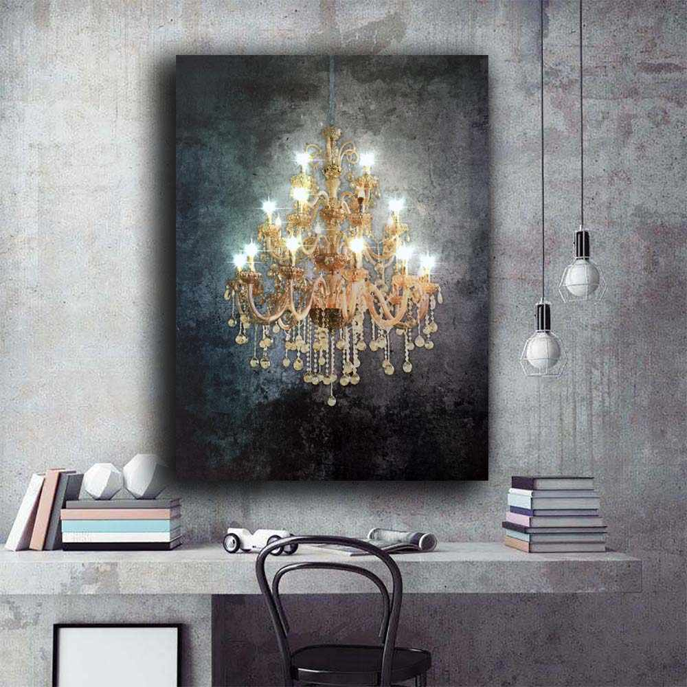 Led Wall Picture Beautiful Gold Crystalline Canvas Art Light Up Painting Artwork Printed Framed For Living Room Decor 16x24inch Painting Calligraphy Aliexpress