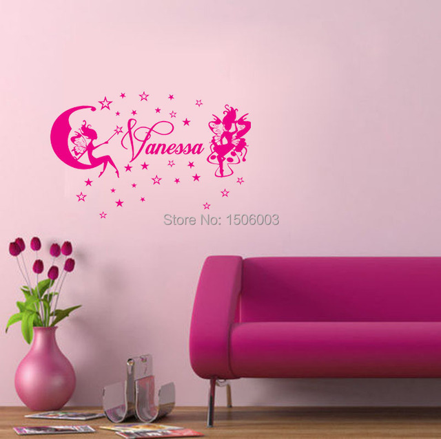 FAIRIES & STARS Custom Name Personal home decorative stickers wall ...