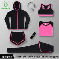 2018 nouveau Sportswear femmes Yoga ensemble course à manches longues Fitness séchage rapide sport costumes respirant Yoga chemises 5 pièces ensembles