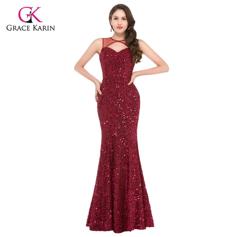 ᗐEvening dresses Grace Karin elegant sequins burgundy sexy Backless ...